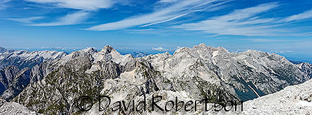 View of Prisojnok and Razor (L) plus Škrlatica and Visoki Rokav (R) from Morbegna in the Julian Alps, Slovenia.