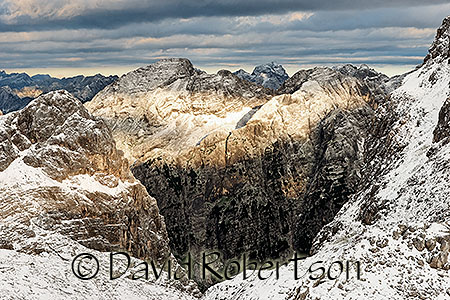 View across Vrata in the Julian Alps, Slovenia.  Early September snow.