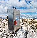 Mountain summit visitors book box