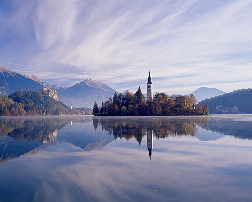 Lake Bled and the island Otok, Bled, Slovenia.