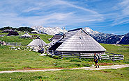 Wooden shepherd houses on Velika Planina